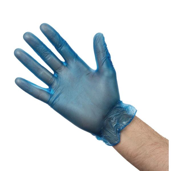 powder free blue vinyl gloves