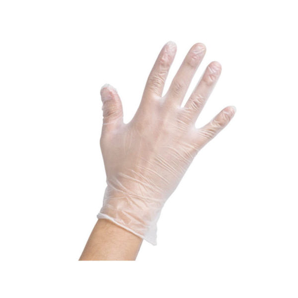 low powdered clear vinyl gloves
